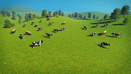 Wall Mural - Herd of cows graze on the open green meadows at spring day. Aerial view. Realistic 3D illustration.