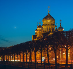 View of Orthodox Church at night with lights, the metochion of Optina Hermitage in St. Petersburg