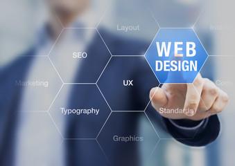 Web design teacher presenting internet development skills, layou