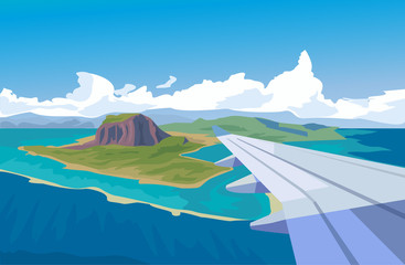 View from the window of airplane. Vector flat illustration