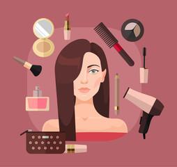 Woman in beauty salon. Vector flat illustration