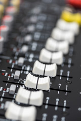 Detail of a Professional Mixing Console. Music Device.