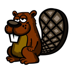 Beaver cartoon vector illustration