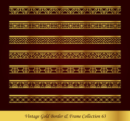 Vintage Gold Border Frame Vector Collection 63