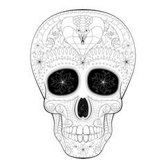 Dia de Muertos Tattoo Skull Day of The Dead with cobra