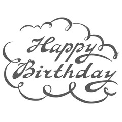 Hand drawn Happy Birthday lettering rough typography
