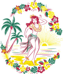 Retro design of  Hawaiian hula girl dancing in a grass skirt on a beach in front of palm trees surrounded by tropical flowers as the sun sets