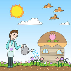 vector cartoon character man watering