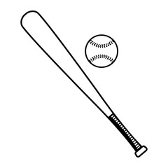 Baseball bat and baseball vector illustration