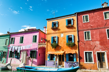 Colorful houses with drying laundry, Burano