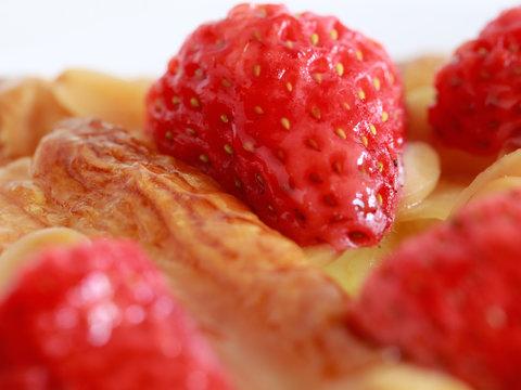 Close up strawberry danish pastry