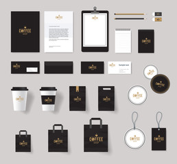 corporate branding identity mock up template for coffee shop and restaurant. badge coffee logo