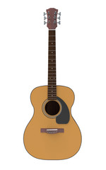 Acoustic guitar isolated Concept Art on a white background