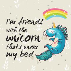 Amazing card with cute unicorn. Vector cartoon illustration