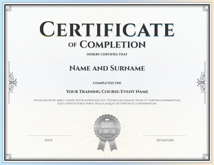 Certificate of completion template in vector for achievement graduation
