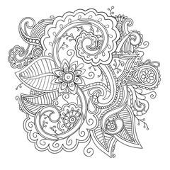 Floral ornamental doodle pattern