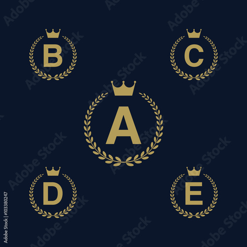 Laurel Wreath Logo Icon With Capital Alphabet Letters Design