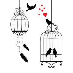 Deurstickers Vogels in kooien Vector illustration, print - love birds and cages