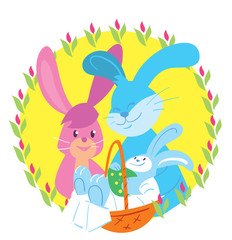 Happy Easter. Easter bunny. Raster illustration in cartoon style.