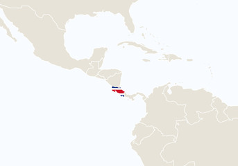 South America with highlighted Costa Rica map.