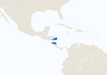 South America with highlighted Nicaragua map.