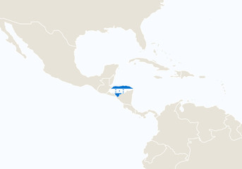 South America with highlighted Honduras map.