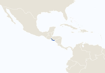 South America with highlighted El Salvador map.