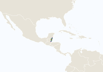 Central America with highlighted Belize map.