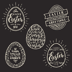 Vector illustration - Set of eggs with Easter greeting type design