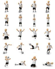 Deutsche Fußballer, große Sammlung, 20 verschiedene Posen mit dem Ball und Pokal