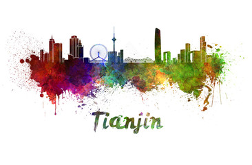 Tianjin skyline in watercolor splatters with clipping path Papier Peint