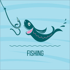 Fishing. Big fish and fishing hook with a worm. Vector illustrat