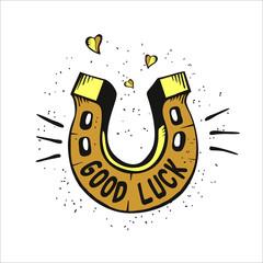 Horseshoe for good luck. Vector illustration.