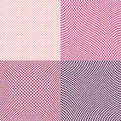 Chess board squares distortion vector seamless pattern set
