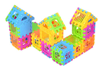 Multi color building pieces block create house isolated on white