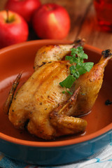 Roasted chicken stuffed with apple
