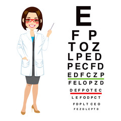 Beautiful professional female optician pointing to snellen chart isolated on white background