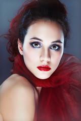 beautiful woman in red scarf