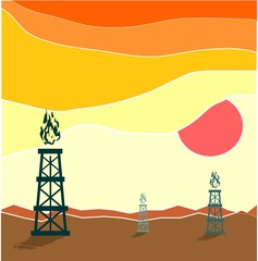Gas rig in waste landscape. Energy and power relative illustration