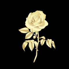 Golden silhouette of rose