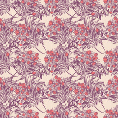 Seamless wallpaper pattern with tulips in vase
