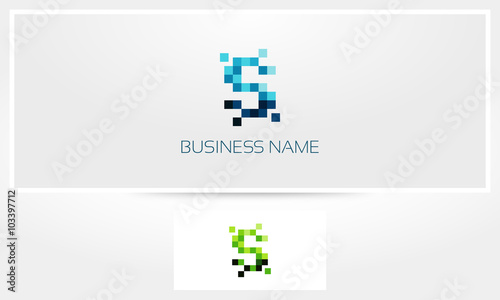 Letter S Pixel Eroded Logo