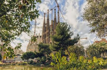 BARCELONA, SPAIN - January 12: La Sagrada Familia on January 12,