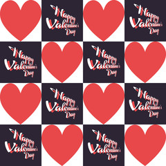 Happy Valentine's Day Greeting Card. Big Red Hearts and Black Square Tiles with White Text. Digital background vector pattern.