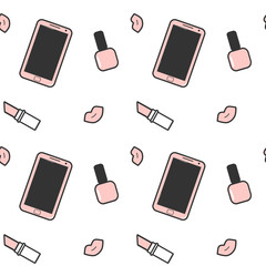 cute pink white black smartphone nail polish lipstick and lips seamless vector pattern background illustration