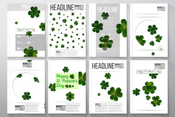 Set of business templates for brochure, flyer or booklet. St Patricks day vector background, green clovers on white