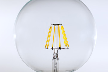 Close up  LED filament light bulb (E27)