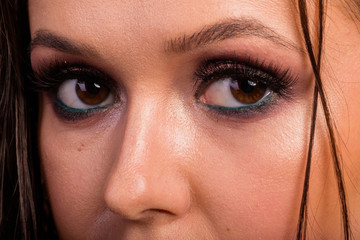 Great professional make-up eyes. Glitter, eye shadow, highlighte