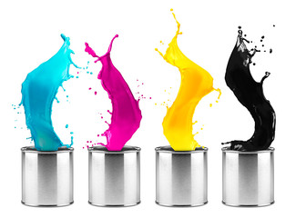 metal color dose row with colorful CMYK splashes isolated on white background