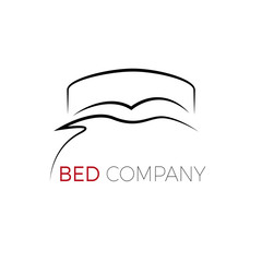 Vector sign stylized bed with pillows and duvet